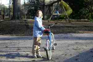 Hannah with her bike