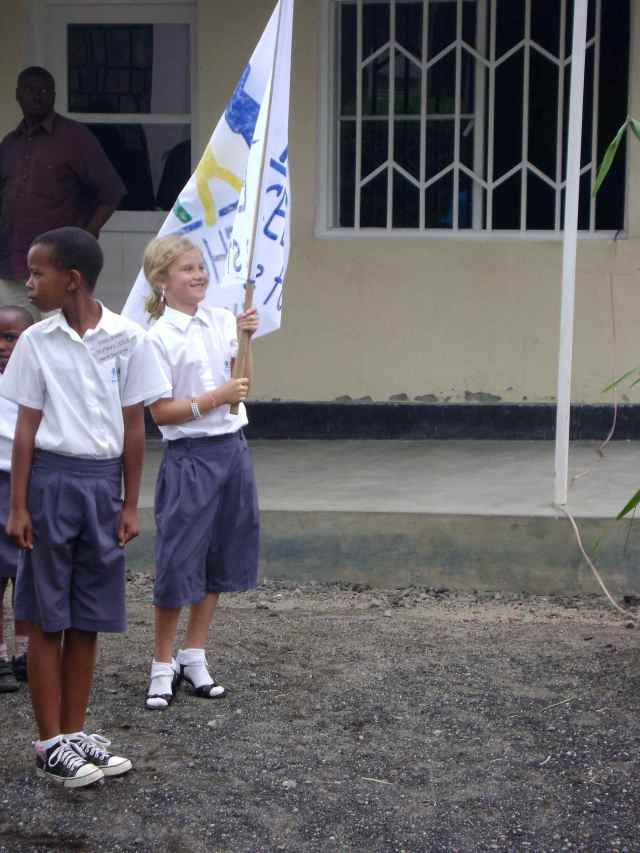 Lydia, carrying the flag