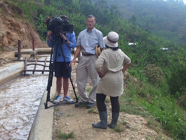 Caleb being interviewed by the BBC crew