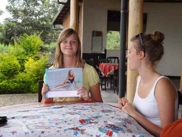 Hannah Displays her Birthday Photo Book