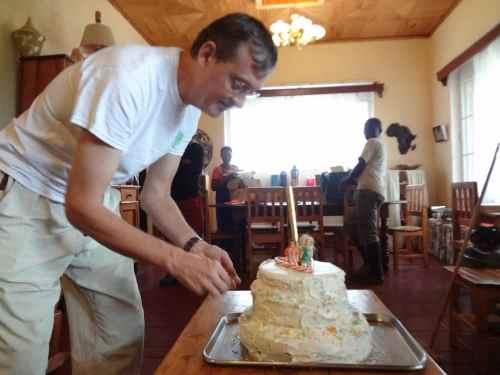 Caleb making the cake