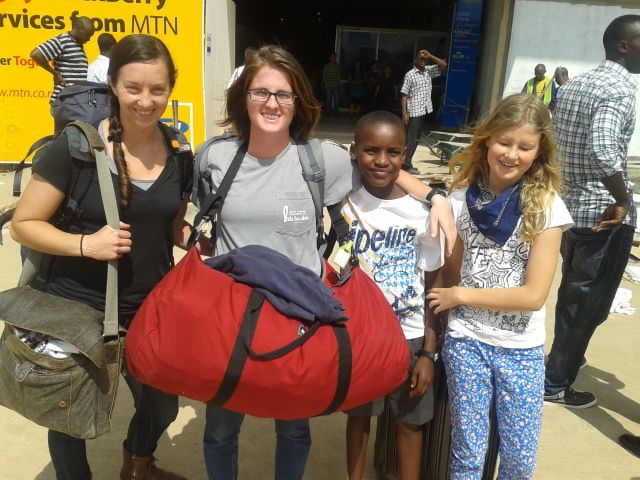 Mary, SJ, Moses and Lydia at the airport