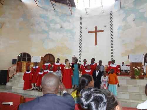 The children's choir sang