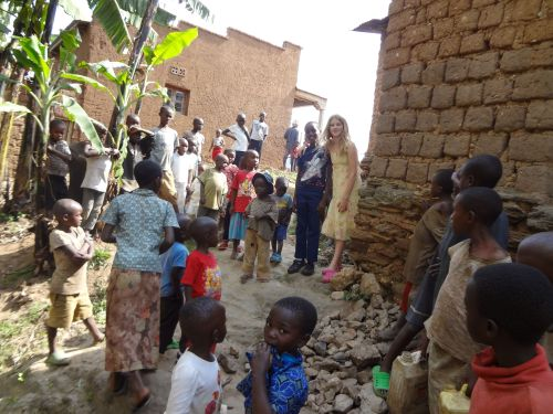 Moses and Lydia with children in Shyira, during a recent visit