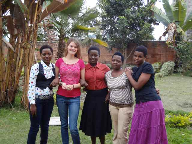 Sara at a farewell gathering with her Rwandan friends