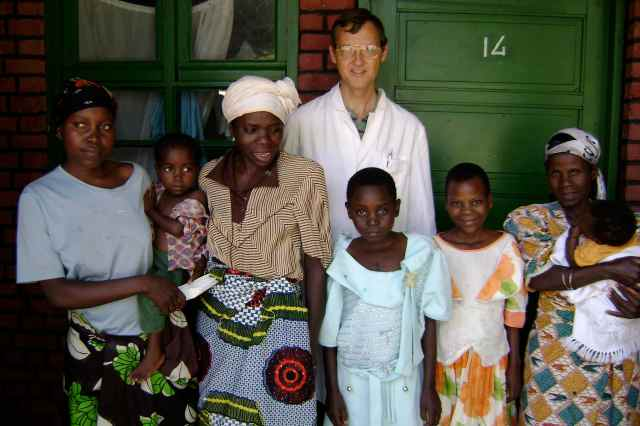 Caleb with heart patients in 2007.  Joseline and her mother are in the center.