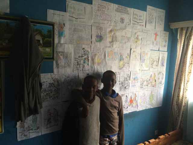 Two of my Sunday School students with their papers from Sunday School