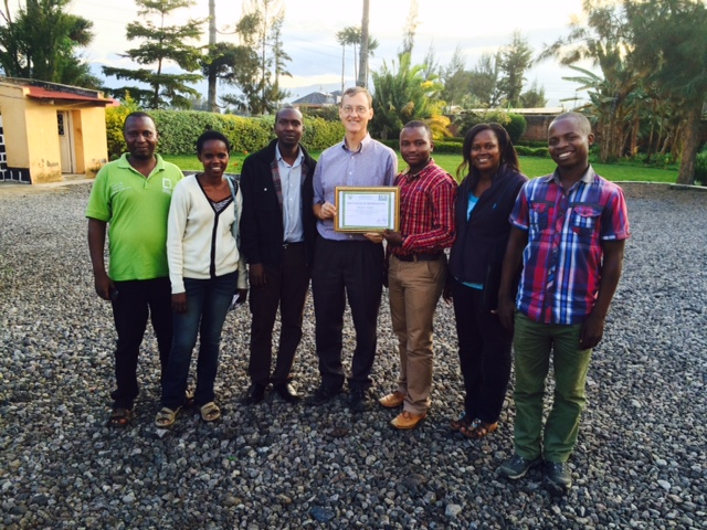 Caleb and his team with the award for innovation