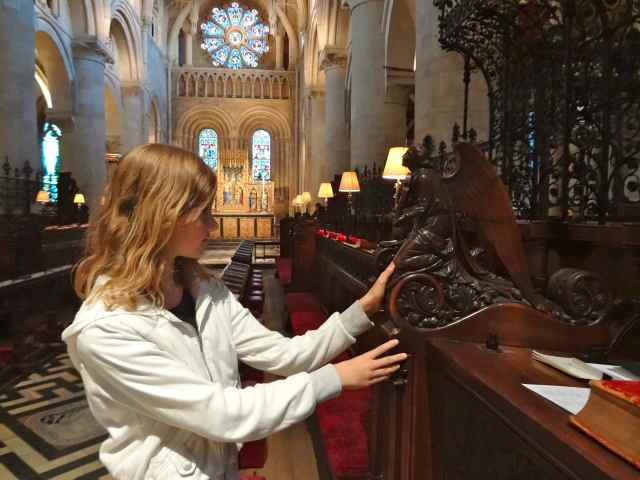 Lydia thought the angel in the Christ Church cathedral was interesting